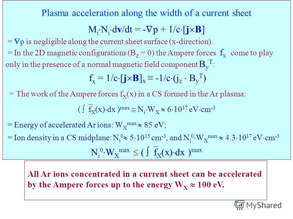 Plasma acceleration along the width of a current sheet M i N i dv/dt = - p + 1/c [j B] = p is negligible along the current sheet surface (x-direction). = In the 2D magnetic configurations (B z = 0) the Ampere forces f x сome to play only in the prese