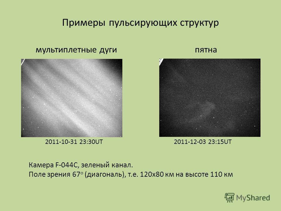 Примеры пульсирующих структур мультиплетные дугипятна Камера F-044C, зеленый канал. Поле зрения 67 о (диагональ), т.е. 120х80 км на высоте 110 км 2011-10-31 23:30UT2011-12-03 23:15UT