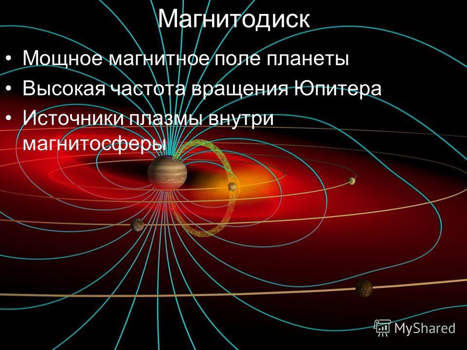 Магнитодиск Мощное магнитное поле планеты Высокая частота вращения Юпитера Источники плазмы внутри магнитосферы