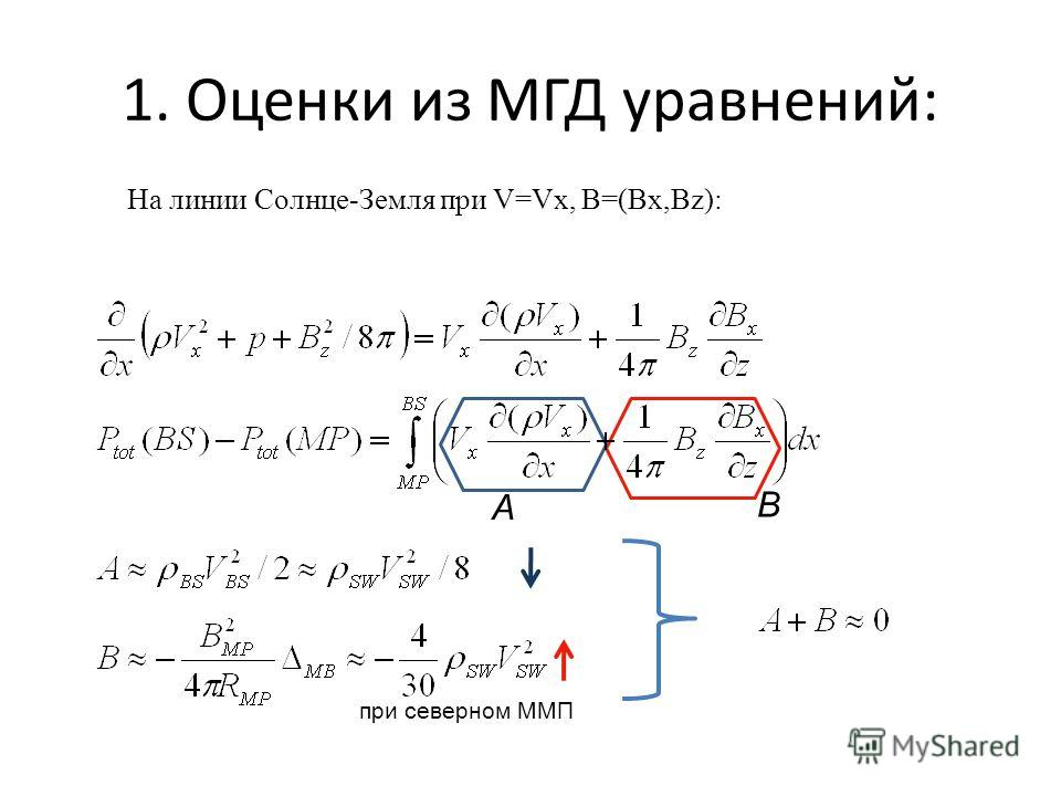 1. Оценки из МГД уравнений: На линии Солнце-Земля при V=Vx, B=(Bx,Bz): A B при северном ММП