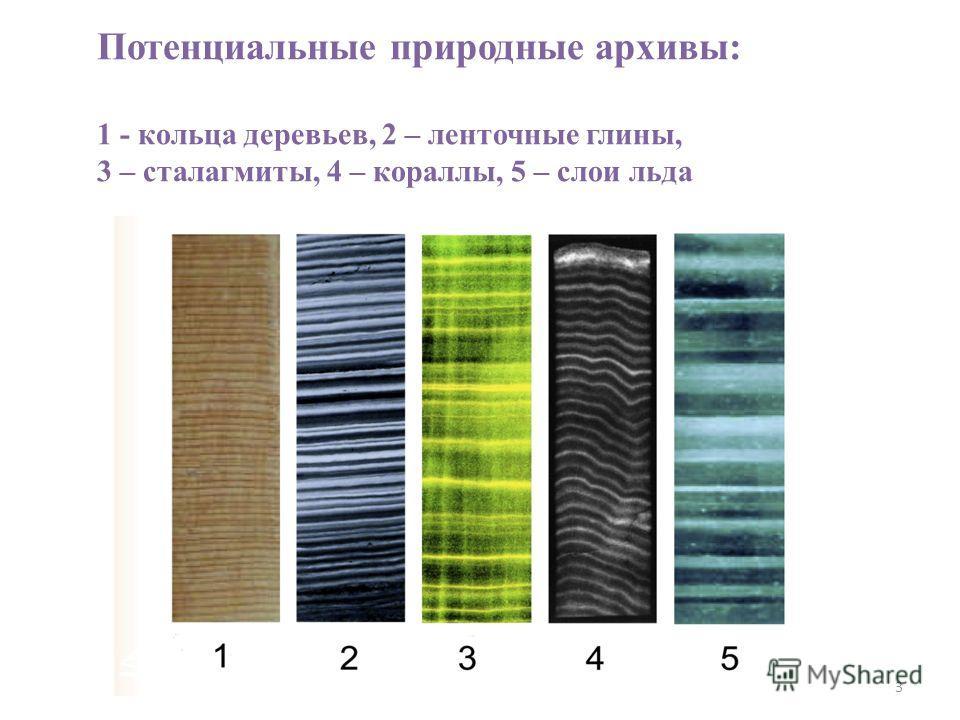 3 Потенциальные природные архивы: 1 - кольца деревьев, 2 – ленточные глины, 3 – сталагмиты, 4 – кораллы, 5 – слои льда