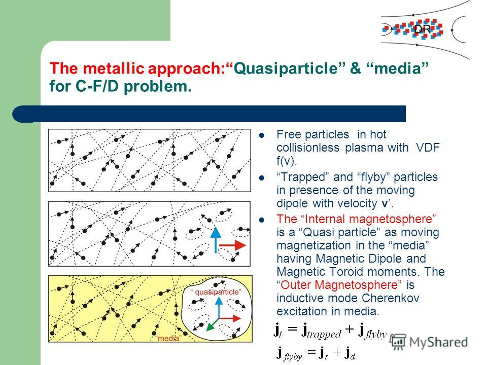 The metallic approach:Quasiparticle & media for C-F/D problem. Free particles in hot collisionless plasma with VDF f(v). Trapped and flyby particles in presence of the moving dipole with velocity v. The Internal magnetosphere is a Quasi particle as m