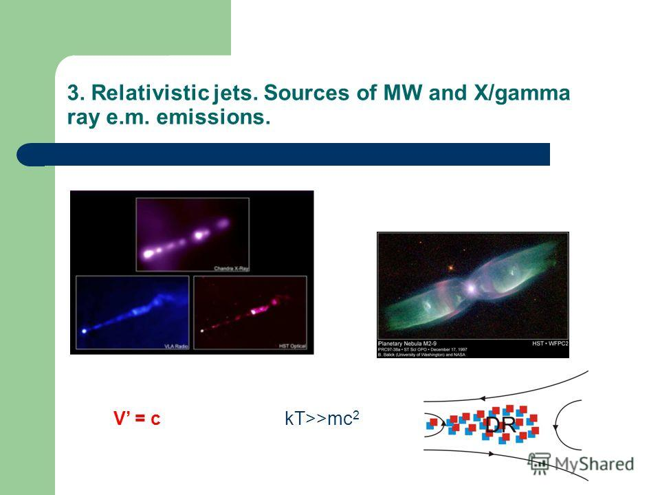 3. Relativistic jets. Sources of MW and X/gamma ray e.m. emissions. V = ckT>>mc 2