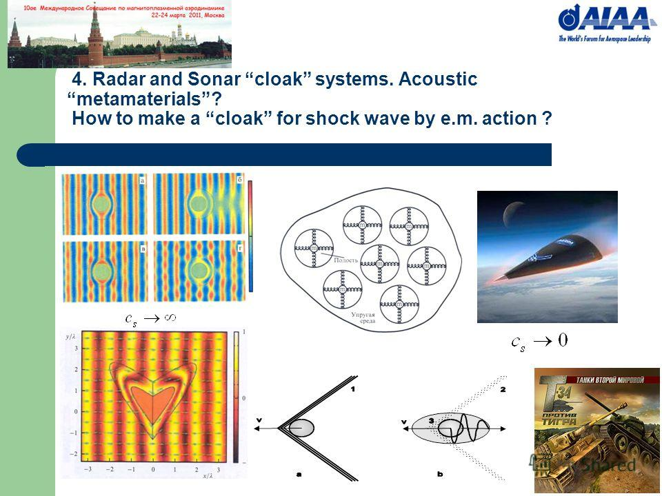 4. Radar and Sonar cloak systems. Acoustic metamaterials? How to make a cloak for shock wave by e.m. action ?