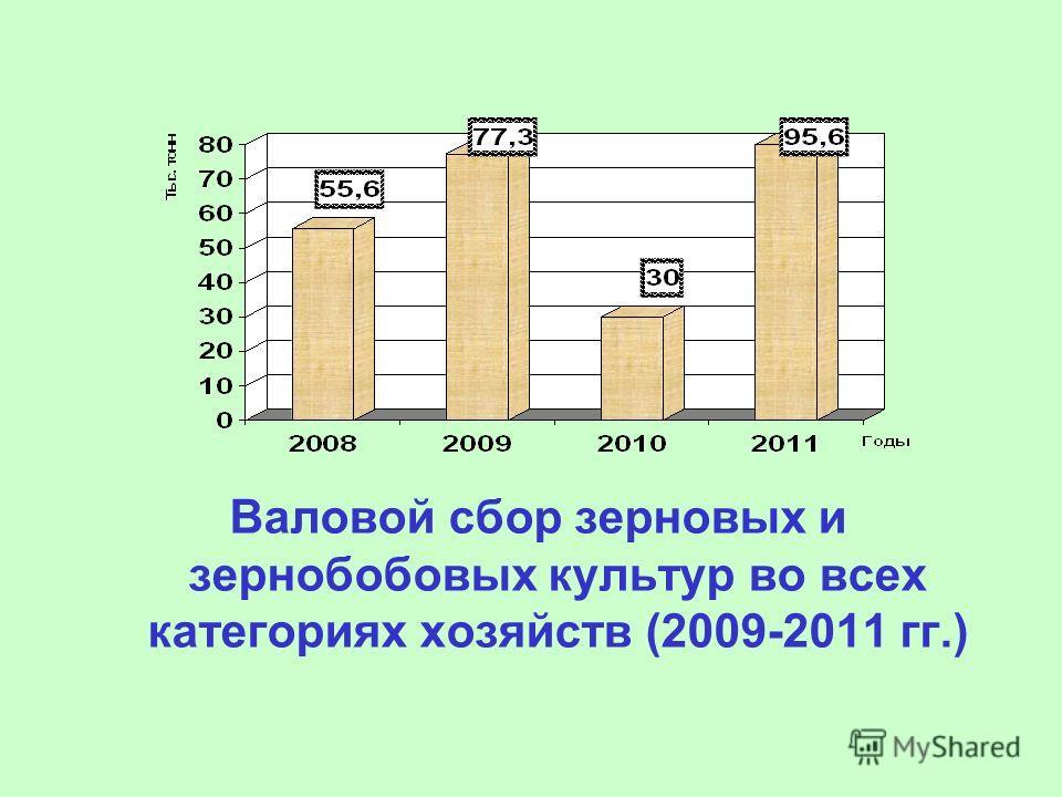 Валовой сбор зерновых и зернобобовых культур во всех категориях хозяйств (2009-2011 гг.)