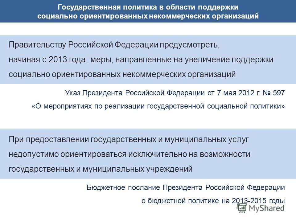 Государственная политика в области поддержки социально ориентированных некоммерческих организаций Правительству Российской Федерации предусмотреть, начиная с 2013 года, меры, направленные на увеличение поддержки социально ориентированных некоммерческ