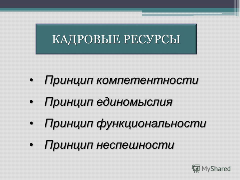 КАДРОВЫЕ РЕСУРСЫ Принцип компетентностиПринцип компетентности Принцип единомыслияПринцип единомыслия Принцип функциональностиПринцип функциональности Принцип неспешностиПринцип неспешности