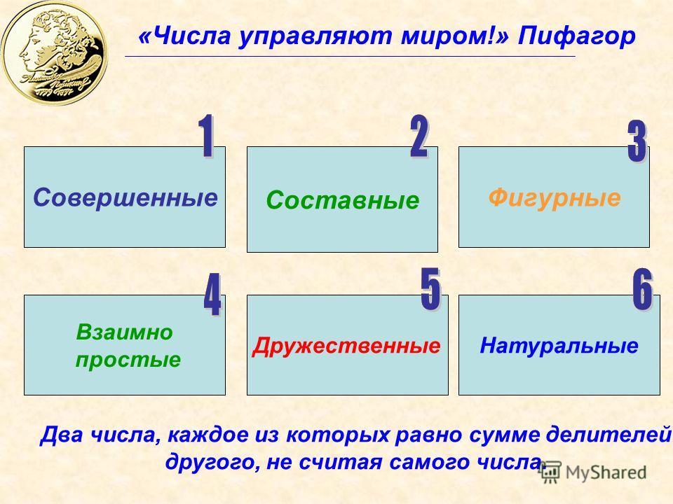 «Числа управляют миром!» Пифагор Совершенные Составные Дружественные Фигурные Натуральные Взаимно простые Два числа, каждое из которых равно сумме делителей другого, не считая самого числа.