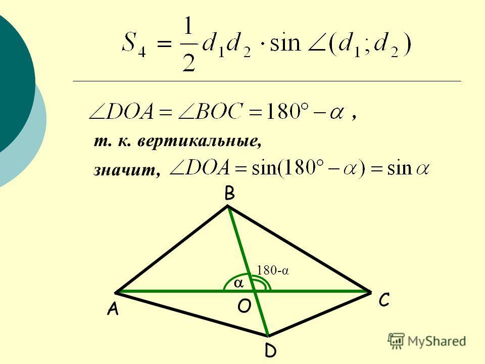 A B C D O 180-α, т. к. вертикальные, значит,