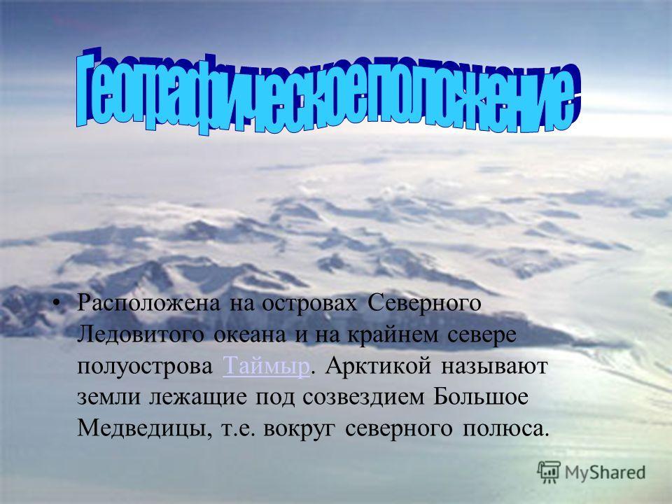 Расположена на островах Северного Ледовитого океана и на крайнем севере полуострова Таймыр. Арктикой называют земли лежащие под созвездием Большое Медведицы, т.е. вокруг северного полюса.Таймыр