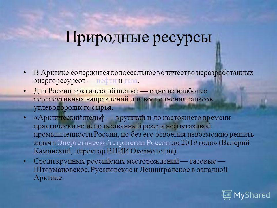 Природные ресурсы В Арктике содержится колоссальное количество неразработанных энергоресурсов нефти и газа.нефтигаза Для России арктический шельф одно из наиболее перспективных направлений для восполнения запасов углеводородного сырья. «Арктический ш