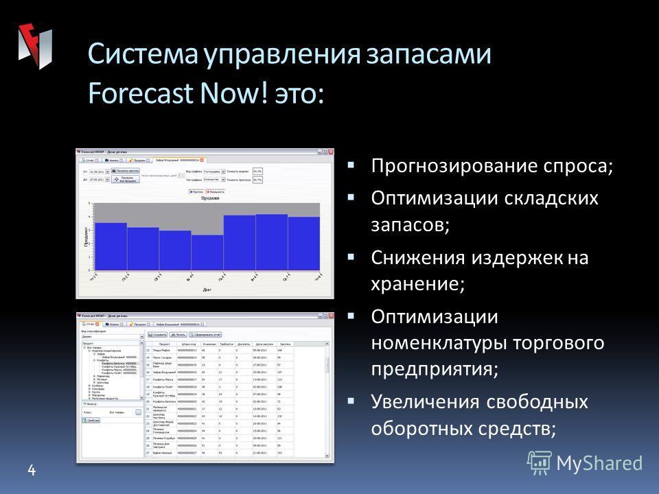 4 Forecast Now! Система управления запасами Forecast Now! это: Прогнозирование спроса; Оптимизации складских запасов; Снижения издержек на хранение; Оптимизации номенклатуры торгового предприятия; Увеличения свободных оборотных средств;