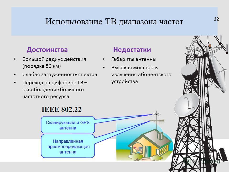 Использование ТВ диапазона частот Достоинства Большой радиус действия (порядка 50 км) Слабая загруженность спектра Переход на цифровое ТВ – освобождение большого частотного ресурса Недостатки Габариты антенны Высокая мощность излучения абонентского у