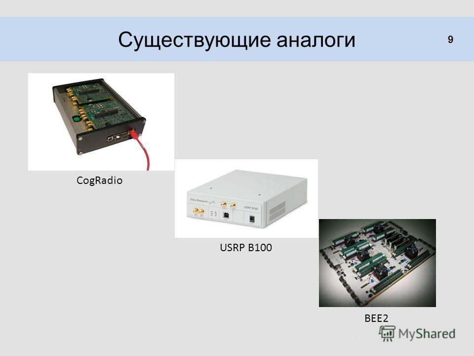 Существующие аналоги 9 CogRadio USRP B100 BEE2