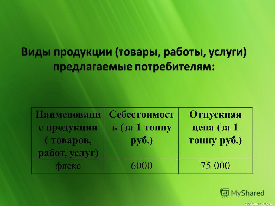 Наименовани е продукции ( товаров, работ, услуг) Себестоимост ь (за 1 тонну руб.) Отпускная цена (за 1 тонну руб.) флекс600075 000