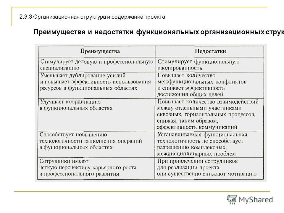 Преимущества и недостатки функциональных организационных структур 2.3.3 Организационная структура и содержание проекта