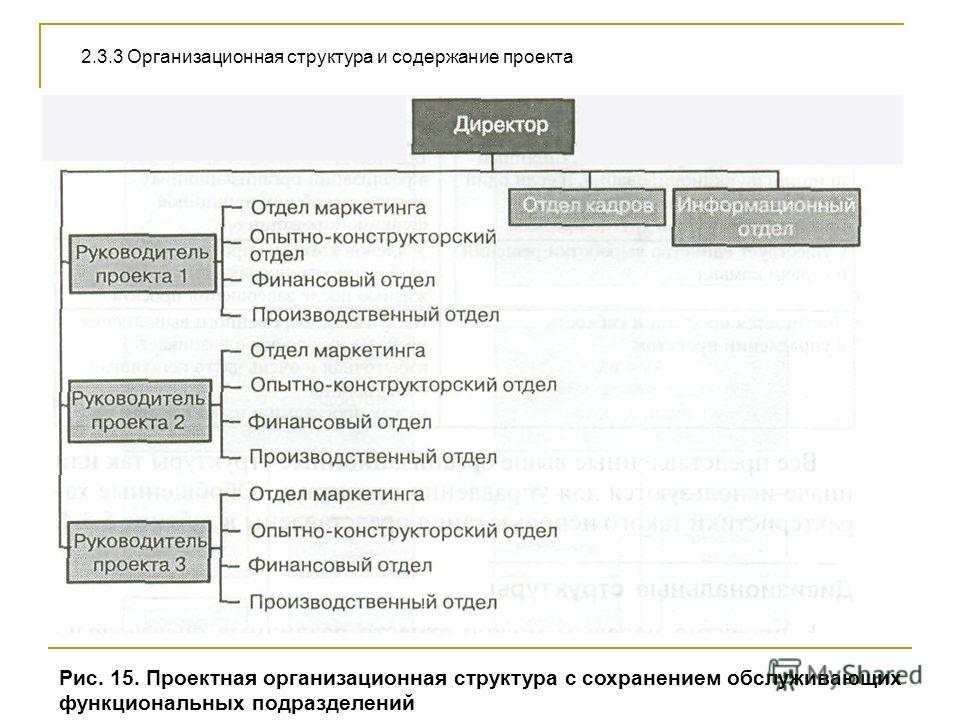 Рис. 15. Проектная организационная структура с сохранением обслуживающих функциональных подразделений 2.3.3 Организационная структура и содержание проекта