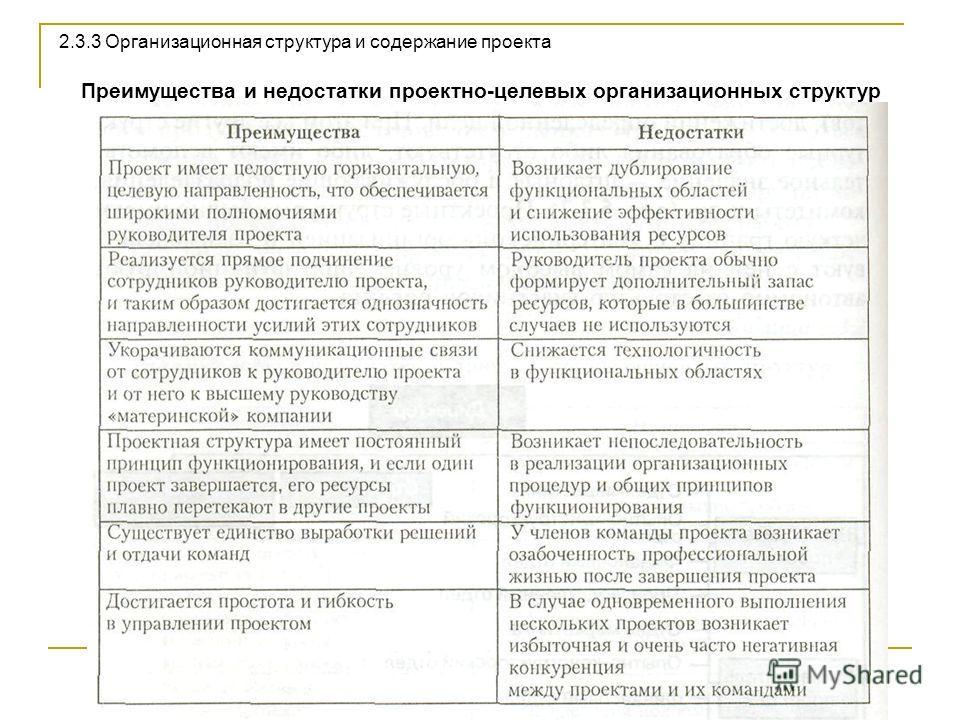 Преимущества и недостатки проектно-целевых организационных структур 2.3.3 Организационная структура и содержание проекта