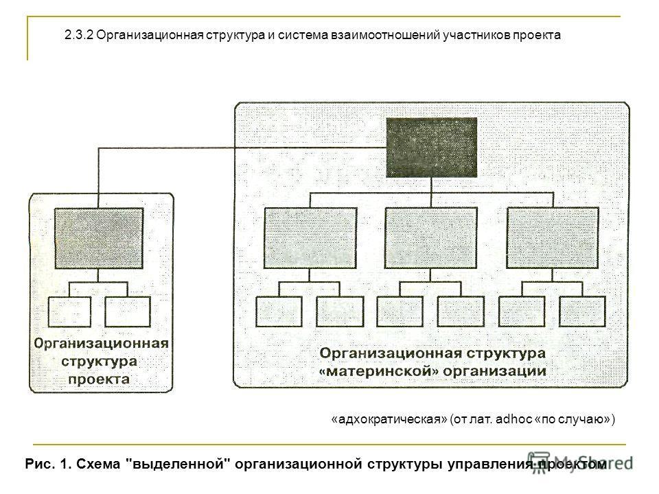2.3.2 Организационная структура и система взаимоотношений участников проекта Рис. 1. Схема выделенной организационной структуры управления проектом «адхократическая» (от лат. adhос «по случаю»)