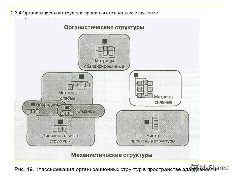 2.3.4 Организационная структура проекта и его внешнее окружение Рис. 19. Классификация организационных структур в пространстве адаптивности