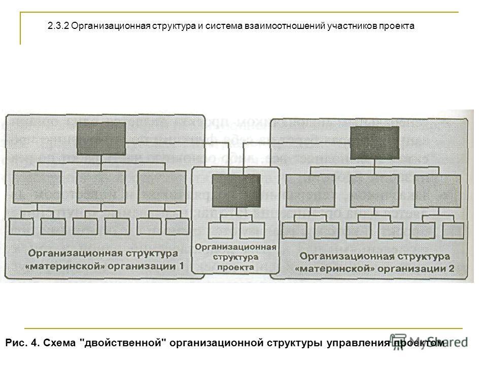 Рис. 4. Схема двойственной организационной структуры управления проектом 2.3.2 Организационная структура и система взаимоотношений участников проекта