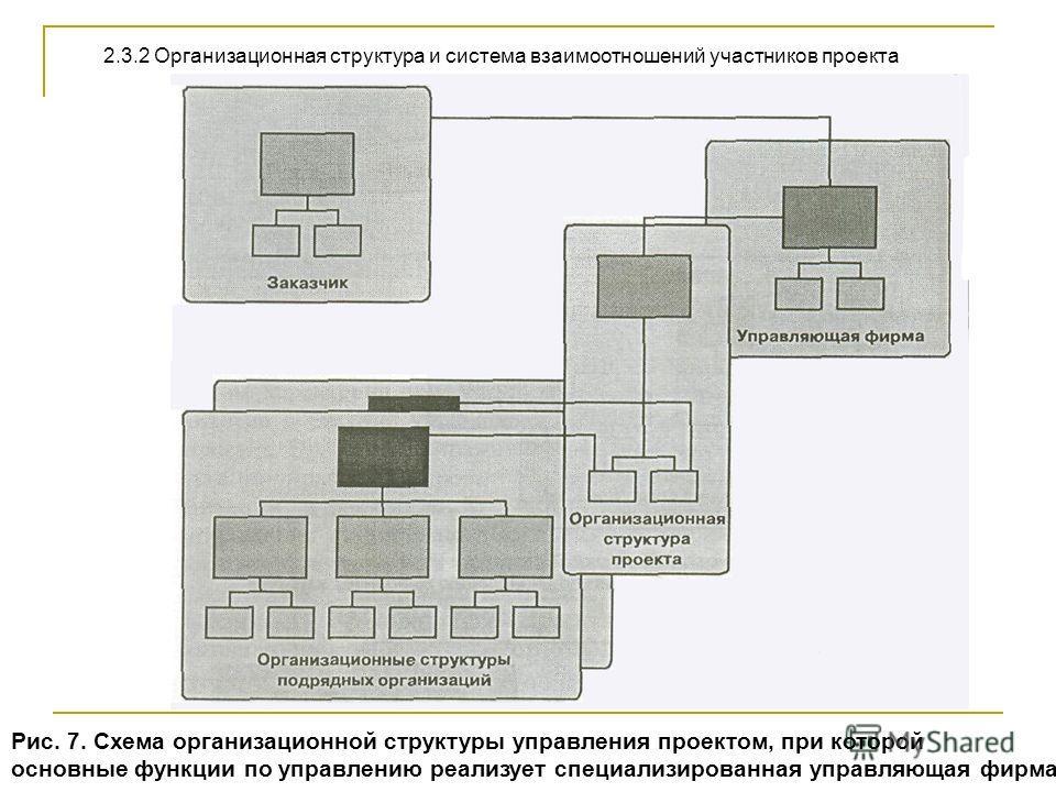 Рис. 7. Схема организационной структуры управления проектом, при которой основные функции по управлению реализует специализированная управляющая фирма