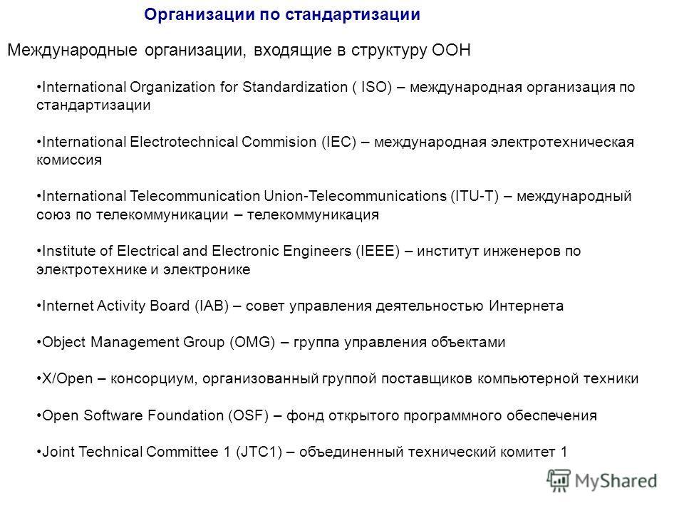 Организации по стандартизации Международные организации, входящие в структуру ООН International Organization for Standardization ( ISO) – международная организация по стандартизации International Electrotechnical Commision (IEC) – международная элект