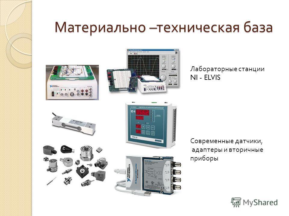 Материально – техническая база Лабораторные станции NI - ELVIS Современные датчики, адаптеры и вторичные приборы