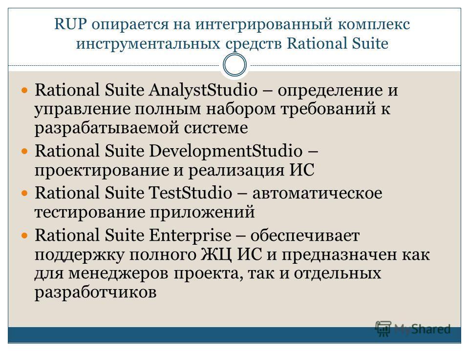 RUP опирается на интегрированный комплекс инструментальных средств Rational Suite Rational Suite AnalystStudio – определение и управление полным набором требований к разрабатываемой системе Rational Suite DevelopmentStudio – проектирование и реализац