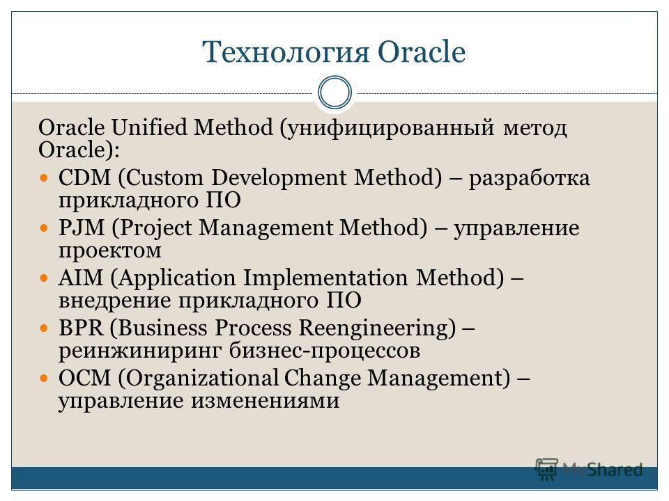 Технология Oracle Oracle Unified Method (унифицированный метод Oracle): CDM (Custom Development Method) – разработка прикладного ПО PJM (Project Management Method) – управление проектом AIM (Application Implementation Method) – внедрение прикладного