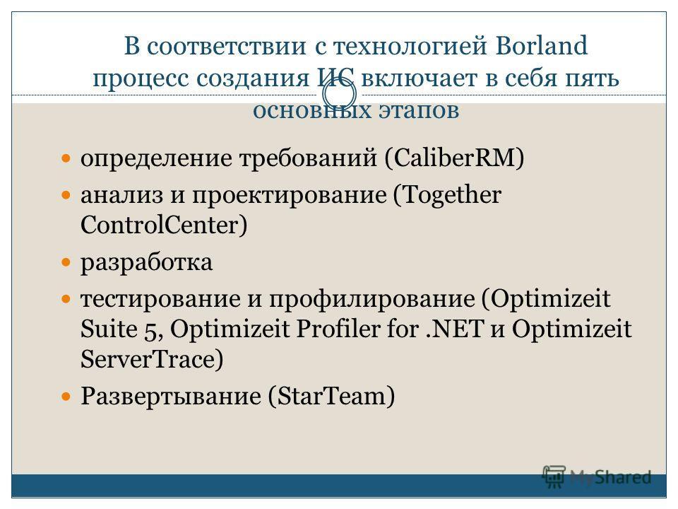 В соответствии с технологией Borland процесс создания ИС включает в себя пять основных этапов определение требований (CaliberRM) анализ и проектирование (Together ControlCenter) разработка тестирование и профилирование (Optimizeit Suite 5, Optimizeit
