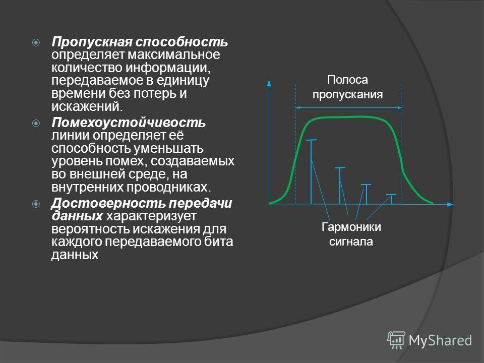 Пропускная способность определяет максимальное количество информации, передаваемое в единицу времени без потерь и искажений. Помехоустойчивость линии определяет её способность уменьшать уровень помех, создаваемых во внешней среде, на внутренних прово
