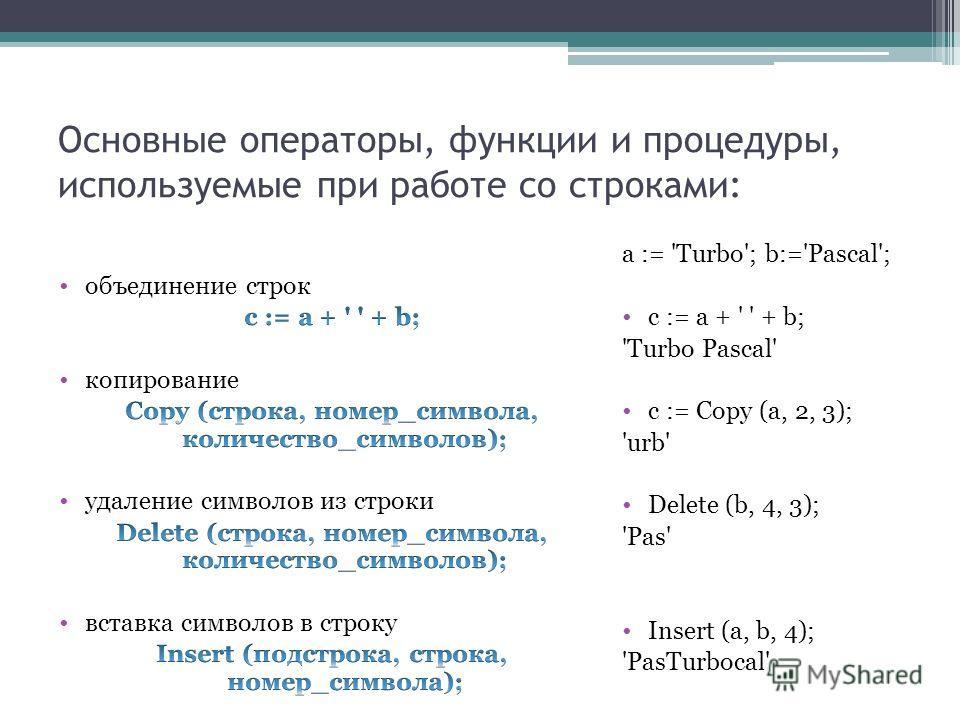 Основные операторы, функции и процедуры, используемые при работе со строками: a := 'Turbo'; b:='Pascal'; c := a + ' ' + b; 'Turbo Pascal' c := Copy (a, 2, 3); 'urb' Delete (b, 4, 3); 'Pas' Insert (a, b, 4); 'PasTurbocal'