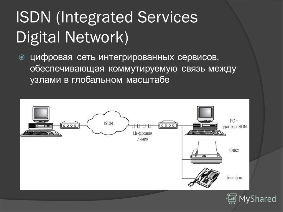 ISDN (Integrated Services Digital Network) цифровая сеть интегрированных сервисов, обеспечивающая коммутируемую связь между узлами в глобальном масштабе
