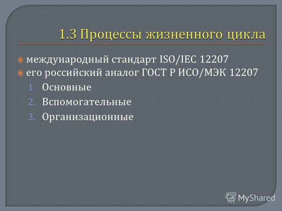 международный стандарт ISO/IEC 12207 его российский аналог ГОСТ Р ИСО / МЭК 12207 1. Основные 2. Вспомогательные 3. Организационные