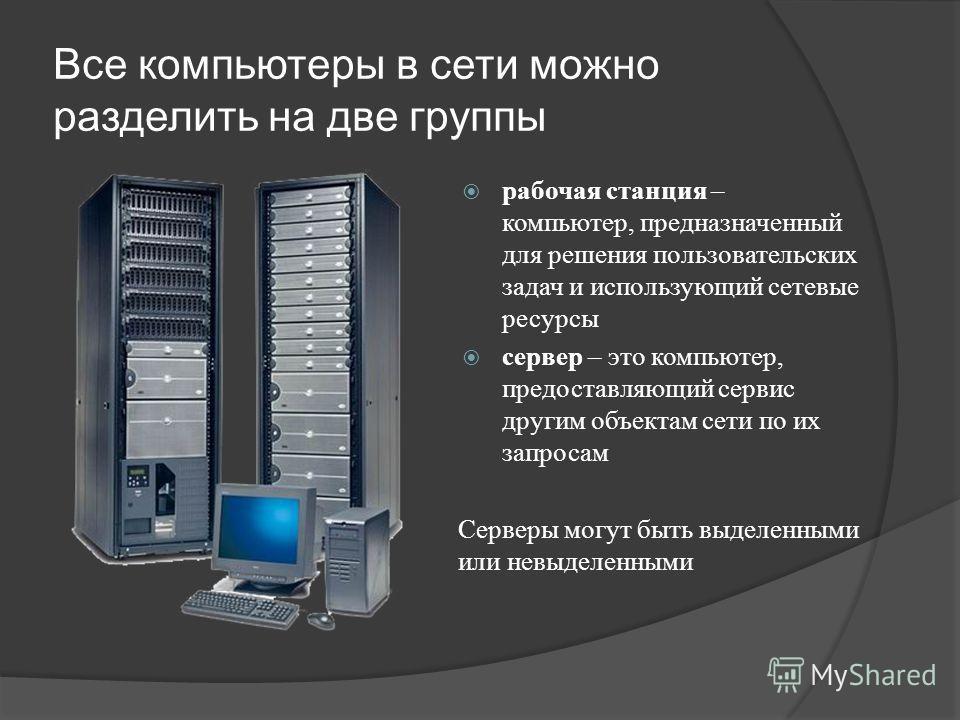 Все компьютеры в сети можно разделить на две группы рабочая станция – компьютер, предназначенный для решения пользовательских задач и использующий сетевые ресурсы сервер – это компьютер, предоставляющий сервис другим объектам сети по их запросам Серв