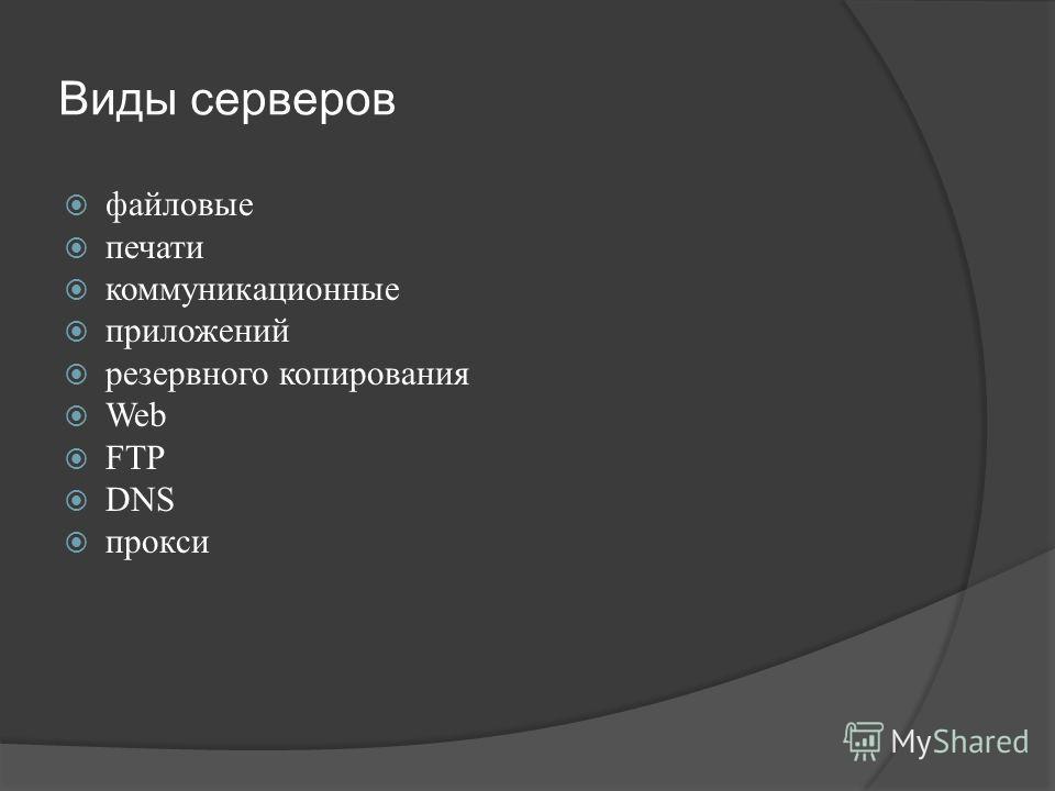 Виды серверов файловые печати коммуникационные приложений резервного копирования Web FTP DNS прокси