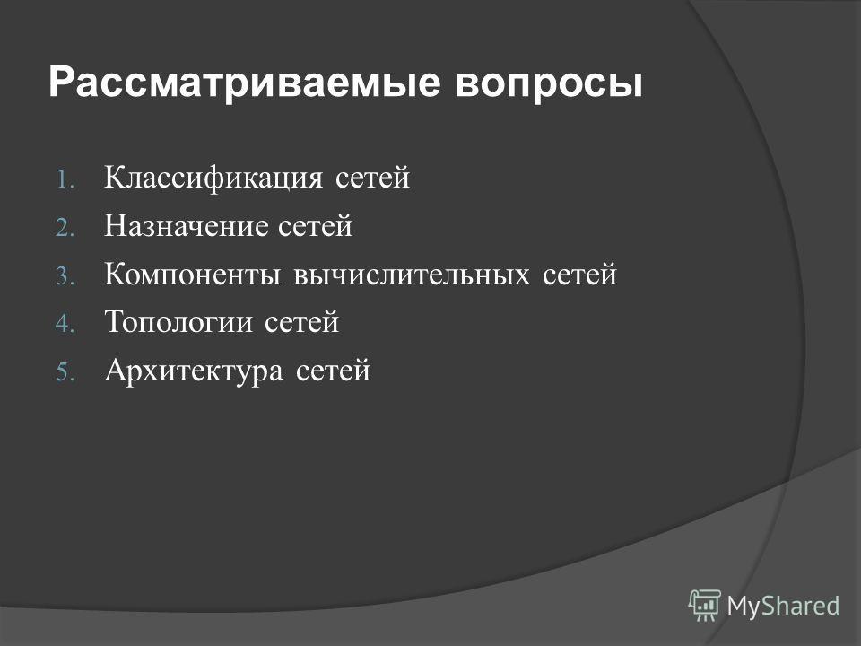 Рассматриваемые вопросы 1. Классификация сетей 2. Назначение сетей 3. Компоненты вычислительных сетей 4. Топологии сетей 5. Архитектура сетей
