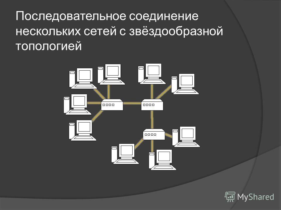 Последовательное соединение нескольких сетей с звёздообразной топологией
