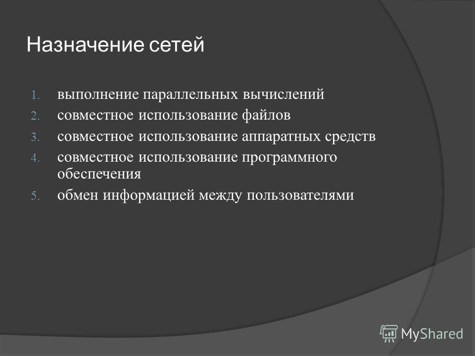 Назначение сетей 1. выполнение параллельных вычислений 2. совместное использование файлов 3. совместное использование аппаратных средств 4. совместное использование программного обеспечения 5. обмен информацией между пользователями