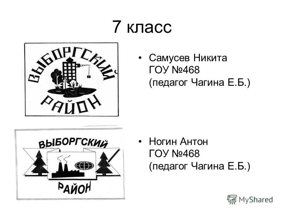7 класс Самусев Никита ГОУ 468 (педагог Чагина Е.Б.) Ногин Антон ГОУ 468 (педагог Чагина Е.Б.)