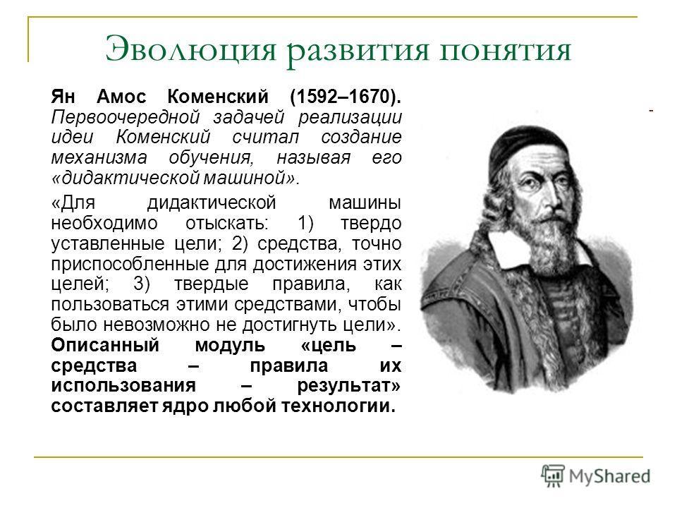 Эволюция развития понятия Ян Амос Коменский (1592–1670). Первоочередной задачей реализации идеи Коменский считал создание механизма обучения, называя его «дидактической машиной». «Для дидактической машины необходимо отыскать: 1) твердо уставленные це