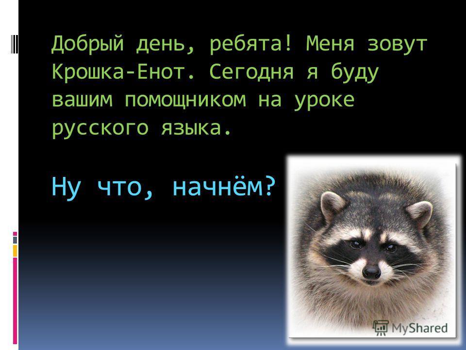 Добрый день, ребята! Меня зовут Крошка-Енот. Сегодня я буду вашим помощником на уроке русского языка. Ну что, начнём?