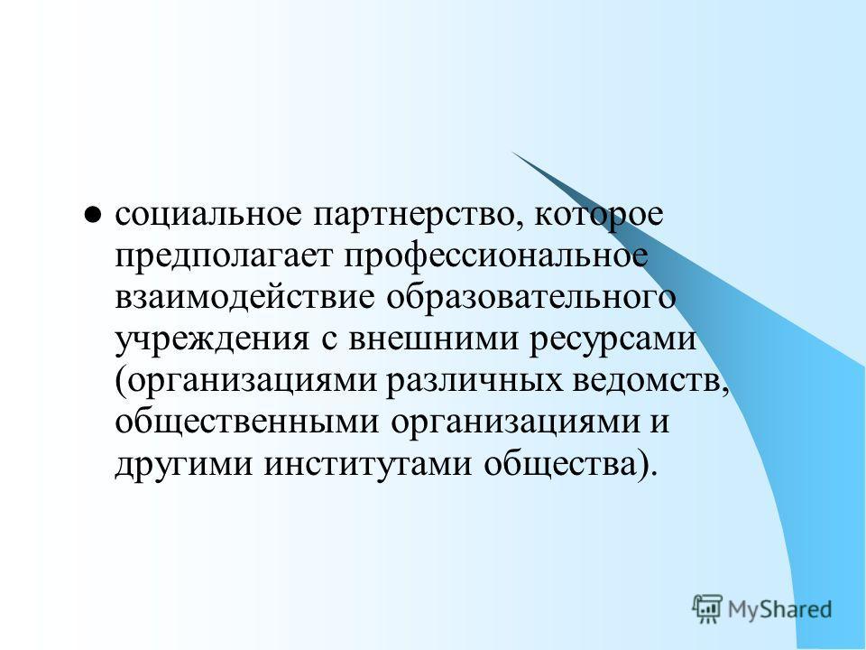 социальное партнерство, которое предполагает профессиональное взаимодействие образовательного учреждения с внешними ресурсами (организациями различных ведомств, общественными организациями и другими институтами общества).