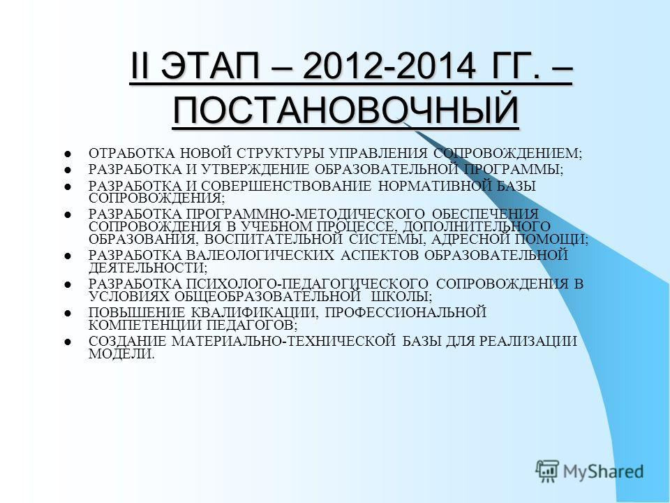 II ЭТАП – 2012-2014 ГГ. – ПОСТАНОВОЧНЫЙ II ЭТАП – 2012-2014 ГГ. – ПОСТАНОВОЧНЫЙ ОТРАБОТКА НОВОЙ СТРУКТУРЫ УПРАВЛЕНИЯ СОПРОВОЖДЕНИЕМ; РАЗРАБОТКА И УТВЕРЖДЕНИЕ ОБРАЗОВАТЕЛЬНОЙ ПРОГРАММЫ; РАЗРАБОТКА И СОВЕРШЕНСТВОВАНИЕ НОРМАТИВНОЙ БАЗЫ СОПРОВОЖДЕНИЯ; РА