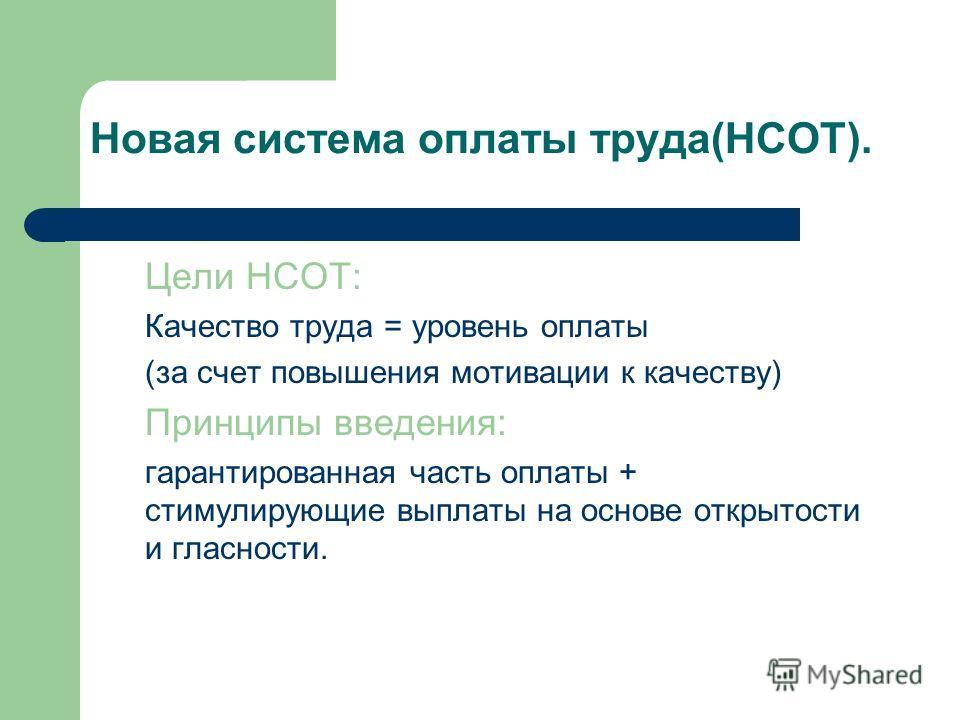 Цели НСОТ: Качество труда = уровень оплаты (за счет повышения мотивации к качеству) Принципы введения: гарантированная часть оплаты + стимулирующие выплаты на основе открытости и гласности. Новая система оплаты труда(НСОТ).
