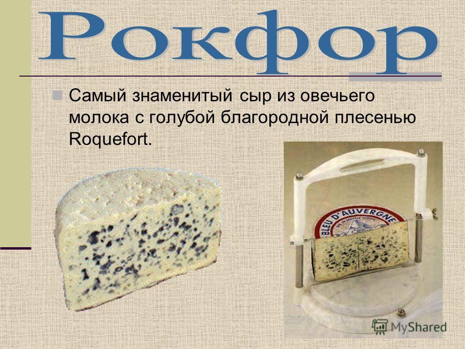 Самый знаменитый сыр из овечьего молока с голубой благородной плесенью Roquefort.