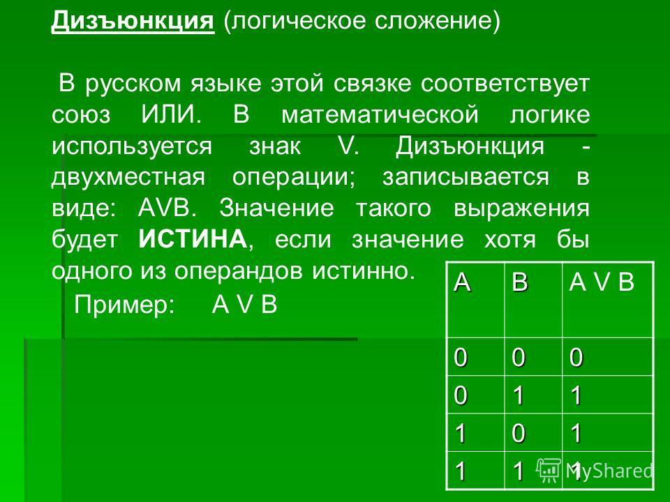 Дизъюнкция (логическое сложение) В русском языке этой связке соответствует союз ИЛИ. В математической логике используется знак V. Дизъюнкция - двухместная операции; записывается в виде: АVВ. Значение такого выражения будет ИСТИНА, если значение хотя