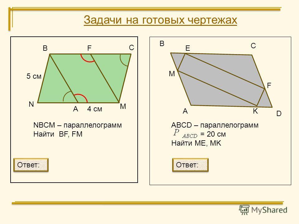В С M N NBCM – параллелограмм Найти BF, FM А В С D E 4 см 5 см ABCD – параллелограмм = 20 cм Найти ME, MK Ответ: А F M F K Задачи на готовых чертежах