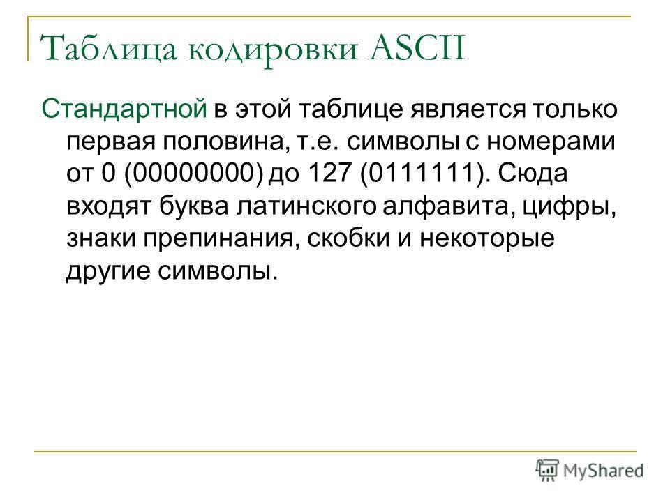 Таблица кодировки ASCII Стандартной в этой таблице является только первая половина, т.е. символы с номерами от 0 (00000000) до 127 (0111111). Сюда входят буква латинского алфавита, цифры, знаки препинания, скобки и некоторые другие символы.